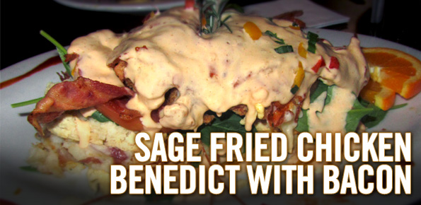 Sage fried chicken benedict with bacon bacon today chicken fried bacon benedict forumfinder Gallery