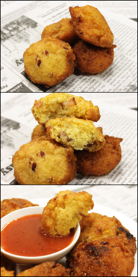 Bacon Corn Hush Puppies Collage