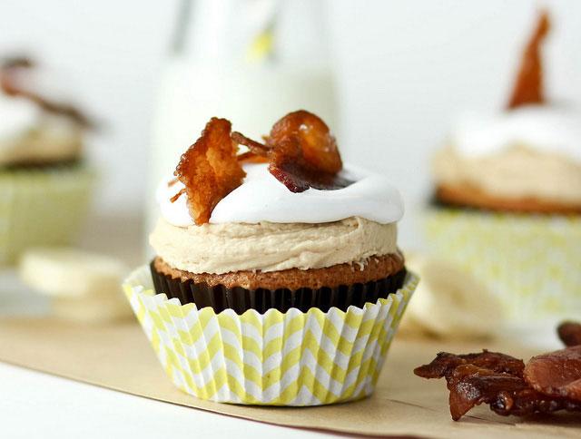 vanilla bean banana cupcake with marshmallow frosting