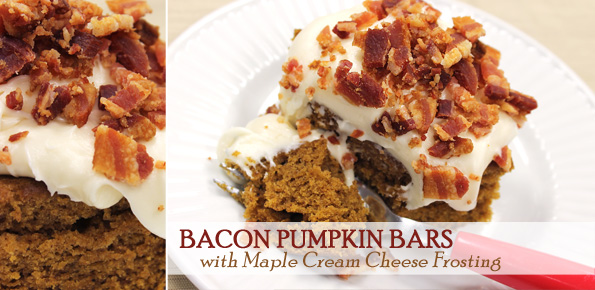 Bacon Pumpkin Bars with Maple Cream Cheese Frosting