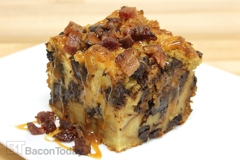 Bacon Chocolate Guinness Challah Bread Pudding - Bacon Today