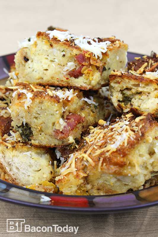 Bacon, Butternut Squash and Kale Bread Pudding - Bacon Today
