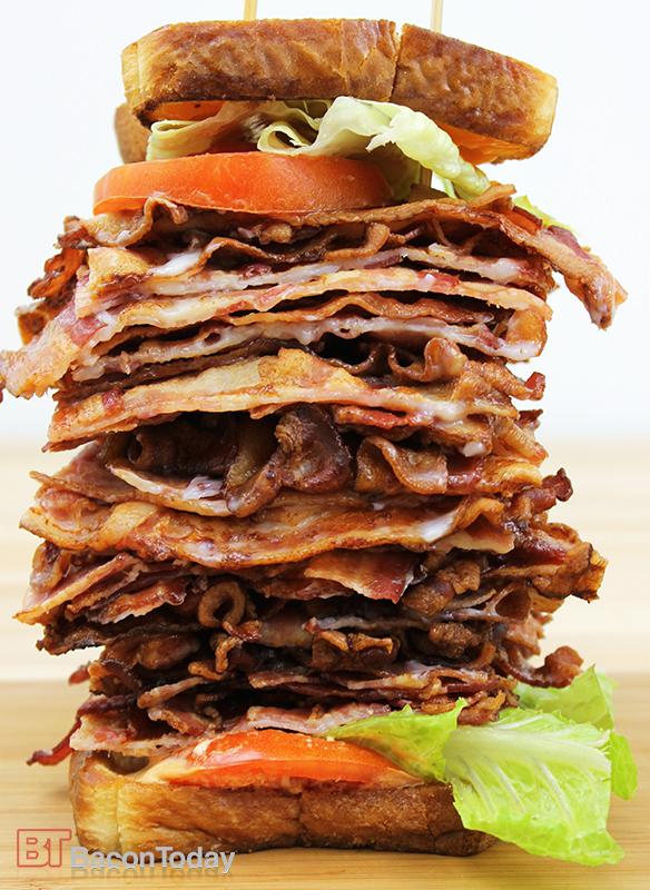 five 5 pounds lbs bacon BLT sandwich