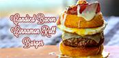 Candied Bacon Cinnamon Roll Burger sm