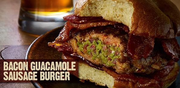 Bacon Guacamole Sausage Burger Recipe