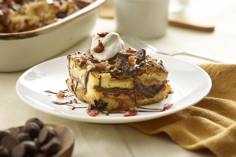 Bacon Chocolate Challah Bread Pudding
